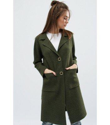 Демисезонное вязаное пальто 31012