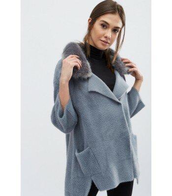 Демисезонное вязаное пальто 31013