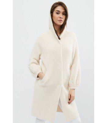 Демисезонное вязаное пальто 31014